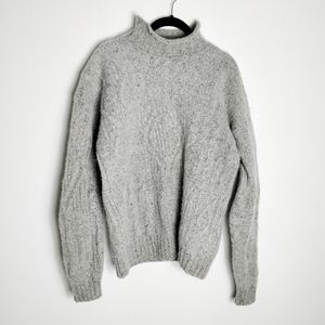Structure Wool and Silk Oversized Gray Sweater